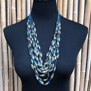 Seashells on Blue Knot Cords Statement Necklace